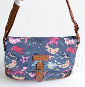 New-Metro-Bird-Pattern-Canvas-Cross-Body-Shoulder-Bag-Handbag-Blue-Brown