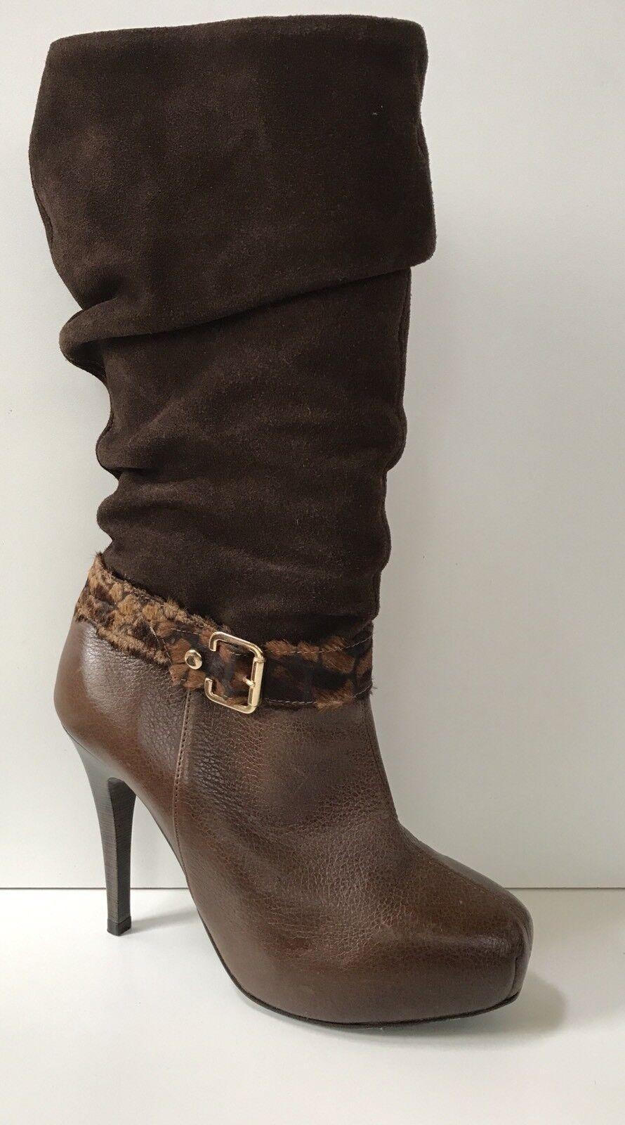 Miucha Sz 7 Brown Brown Brown Leather & Suede High Heel Hidden Platform Mid Calf Boot Brazil 56b8c3