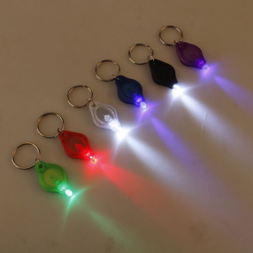 Mini super micro bright light LED camp flashlight keyring keychain torch lampFBB