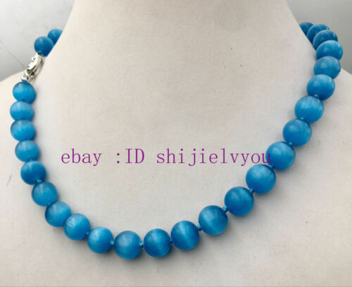 "Pretty 10 mm Bleu Oeil de Chat Pierre Opal Round Beads Gems collier 18 /""AAA"
