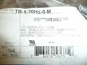 Thomas and Betts TB-5-30HS-0-M 5.6 in Cable/Zip tie Black Aprox 1000pcs