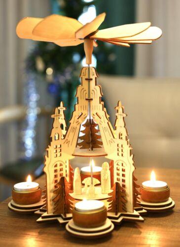 BRUBAKER Christmas Pyramid Nativity Scene 2 Tier 29cm Tealight Windmill Carousel
