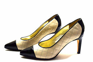 Ron-White-Pumps-35-5-Womens-Black-Cream-Leather-Shoes