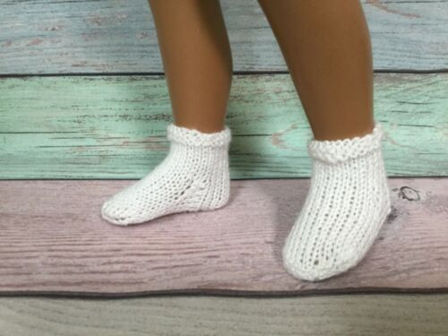 SASHA DOLL hand knitted white socks FREE US SHIPPING #3 short