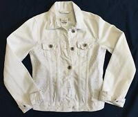 Abercrombie Kids White Jean Jacket With White Lace Panels Size 14 (l).