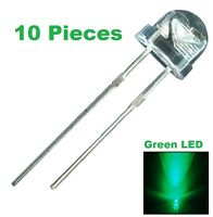 10 Pieces Green Led 5mm Straw Hat Ultra Bright Wide Angle Light Quality Lamp