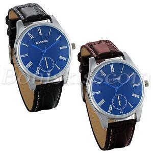 Couples-Men-039-s-Womens-Roman-Numberals-Dial-Leather-Strap-Dress-Quartz-Wrist-Watch