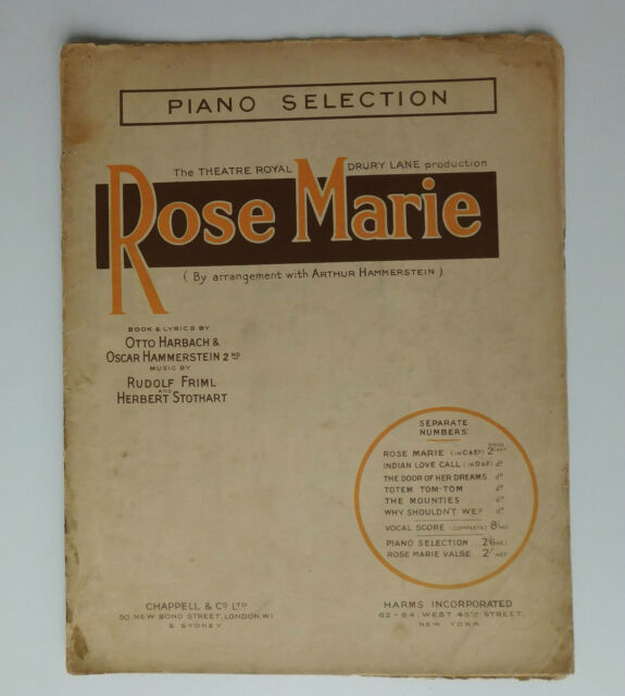 Rose Marie musical show piano selection Harbach Hammerstein 1920s sheet music
