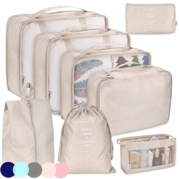 4pc Waterproof Travel Storage Bags Clothes Packing Purse Luggage Organizer Pouch