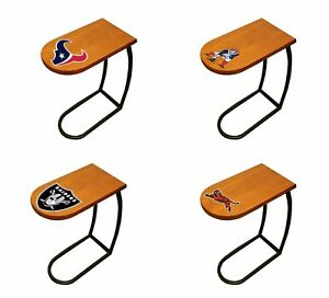 Tv Trayend Table Oak Finish Slide Under Couch With Nfl Football