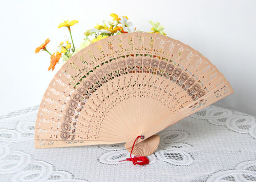 US Chinese Bamboo Folding Hand Fan Wedding Party Flower Pattern Retro Wooden