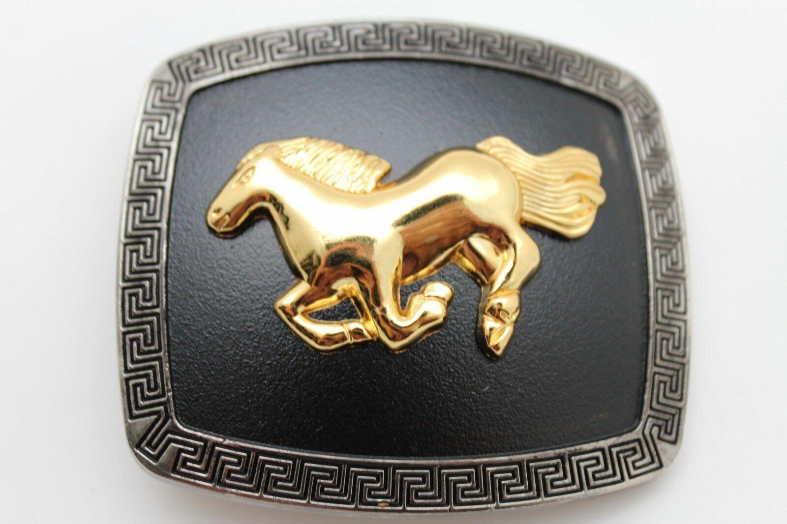 Herren Western Gürtelschnalle Silber Metal Square Gold Rodeo Pferd Schwarz Hose