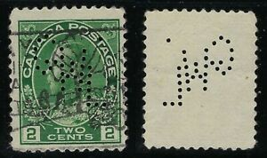 Canada-Perfin-G22-GWL-code-5-ST-JOHN-NB-Scott-107-2c-Green-Admiral-wet-RF-E