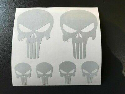 6 Sticker Retro Riflettente Teschio Casco Teschio Punisher Moto