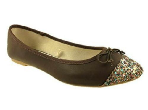 Ladies Fashion Ballerina Dolly Pumps Shoes Glitter Bow Detail Brown Size 3-8