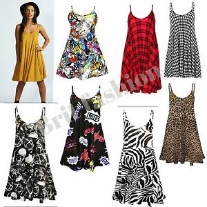 caa67390e8b26 Details about Womens ladies strappy CAMI SWING DRESS long vest size 8-20  lot s of