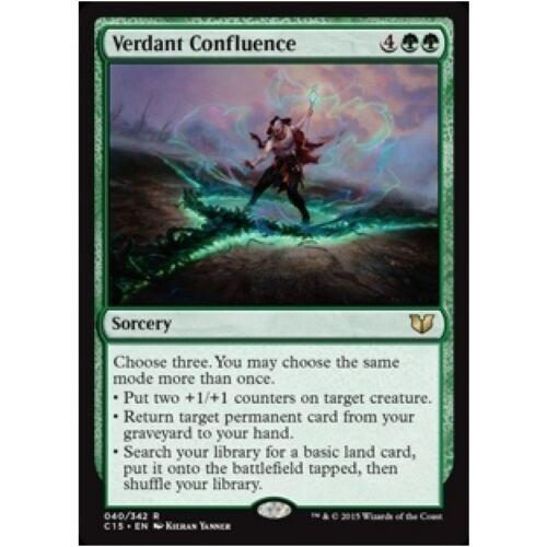 VERDANT CONFLUENCE NM mtg Commander 2015 Green Sorcery Rare