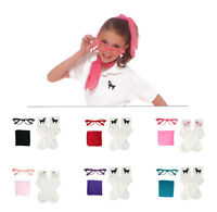1950s 3 Pc Child Accessory Set (vintage Hair Scarf-poodle Socks-cat Eye Glasses)