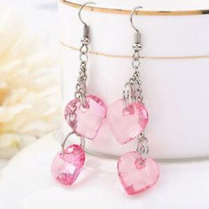 Pink-Heart-Silver-Long-Drop-Earrings-Bridal-Crystal-Chain-Tassel-Dangle-Jewelry