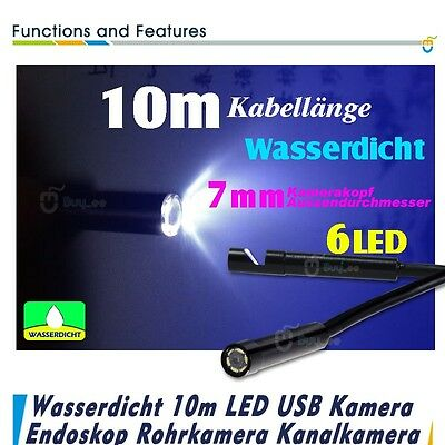USB Endoskop Video kamera 10M 7MM Rohrkamera Inspektionskamera wasserdicht DHL