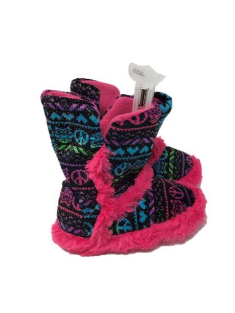 CHILDRENS KIDS GIRLS CUTE SOFT WARM FLUFFY POMPOM FUR SLIPPERS BOOTIES SIZE10-2