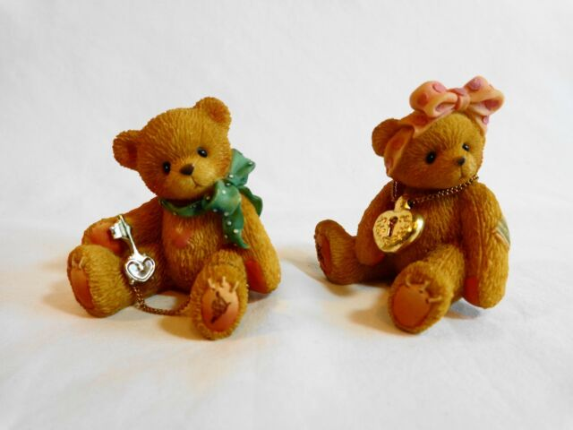 Enesco CHERISHED TEDDIES Set of 2 Teddy Bear Figurine Lock and Key 302759 1997