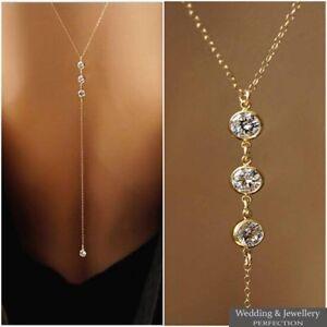 Women Back Necklace Crystal Faux Pearl Rhinestone Wedding Body Backdrop Chain UK