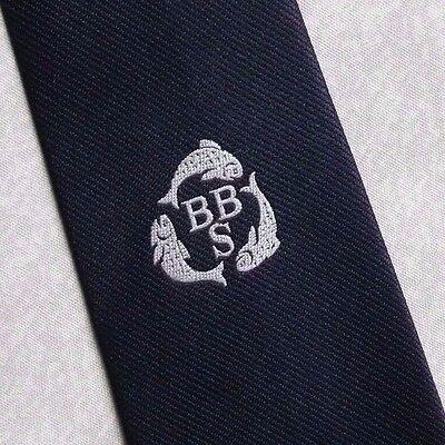 Buono Vintage Tie Cravatta Da Uomo Logo Aziendale Crested Club Associazione Società Fish Bbs-mostra Il Titolo Originale Ulteriori Sorprese