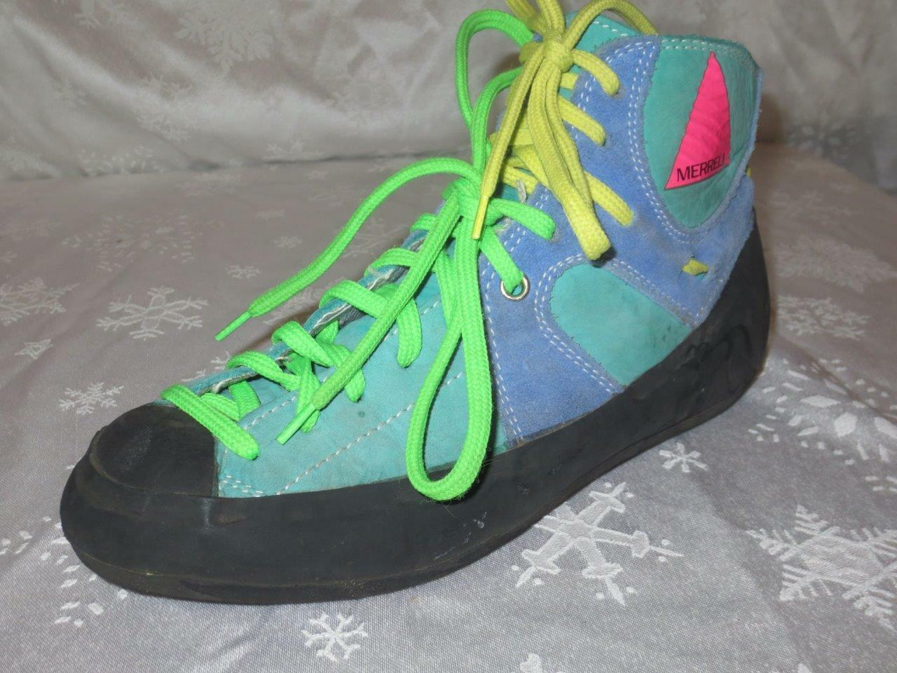 RARE   MERRELL Womens MULTICOLOR SUEDE Double Lace BOOTS shoes Size 6 WOW