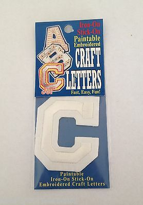 Iron on or Stick On Paintable Embroidered Craft Letters C