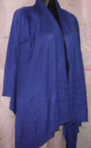 64-WORTHINGTON-COLBALT-BLUE-SMALL-CARDIGAN-sweater-Ribbed-TRIM-3-4-sleeve