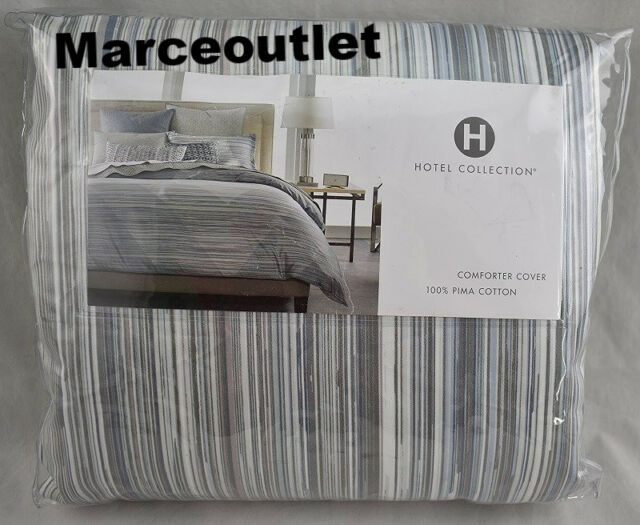 Hotel Collection Diamond Stripe 100% Cotton KING Duvet Cover Gray