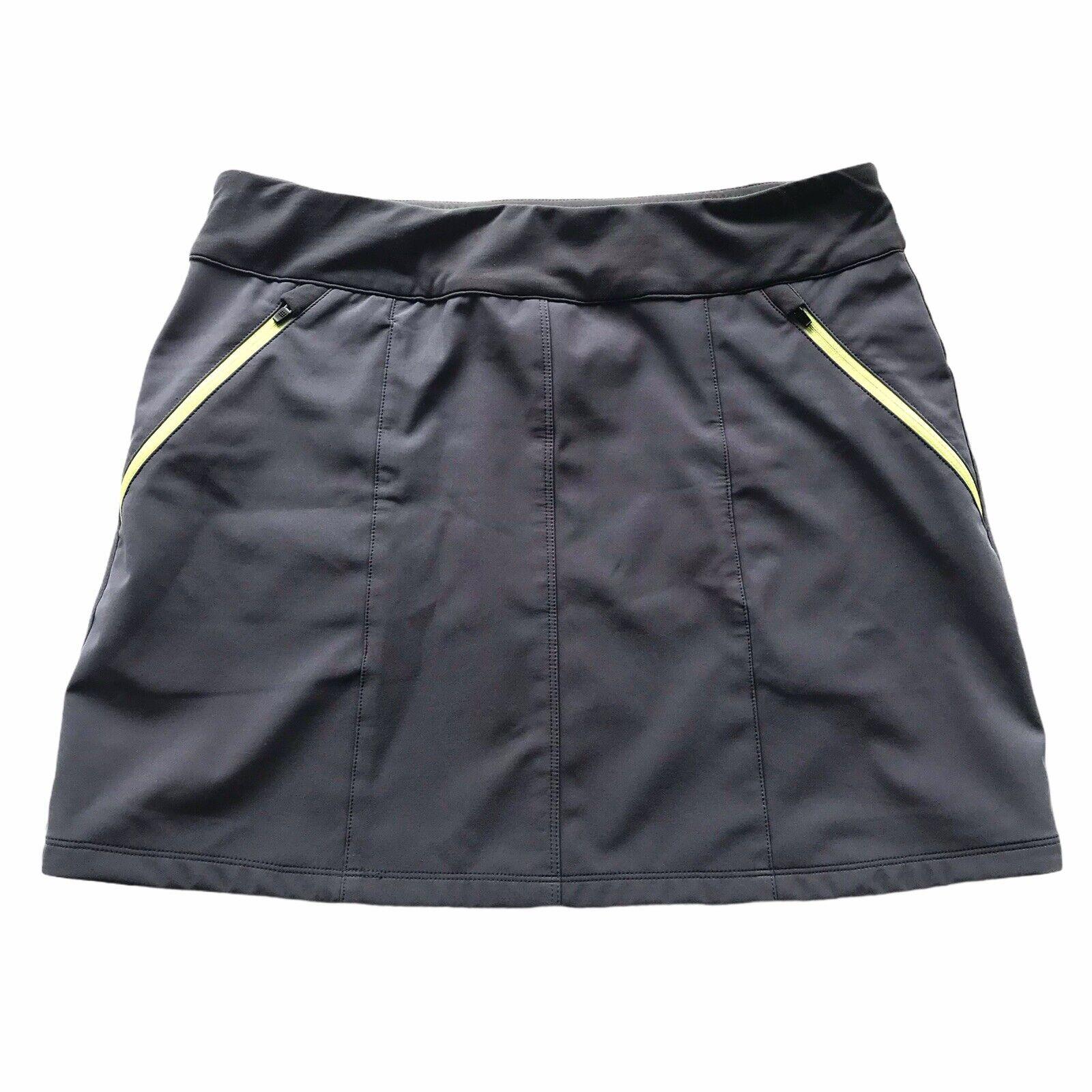 Title Nine Snow Slayer Skirt Sz 10 Pull On Stretch Gray Lime Green Zip Pockets