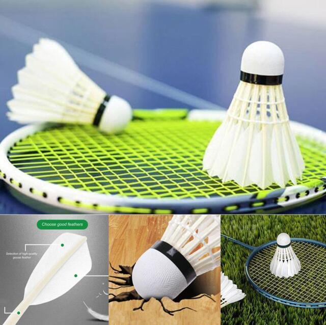 12pcs White Goose Feather Nylon Badminton Ball Shuttlecocks Sport Training Game