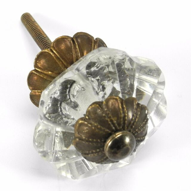 Attrayant Glass Dresser Knobs, Cabinet Door Handles And Antique Brass Drawer Pulls  #K164FF
