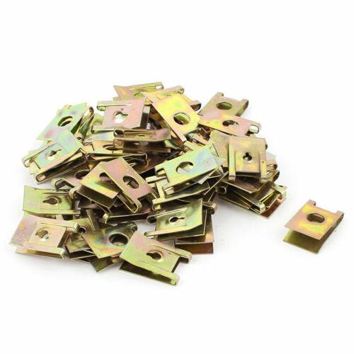 50pcs Bronze Tone Spring Metal Voiture Porte Panneau Spire Vis U-type clips L