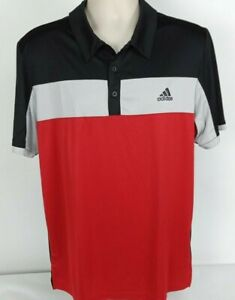 NWT-Adidas-Golf-60-Climalite-S-S-Polo-Shirt-Black-Gray-Red-Striped-Men-039-s-Large