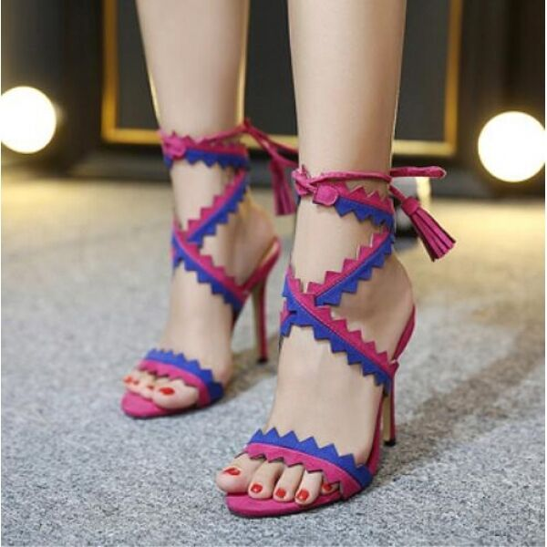 Women's sandals 12 cm elegant stiletto pink bluee comfortable like leather CW576