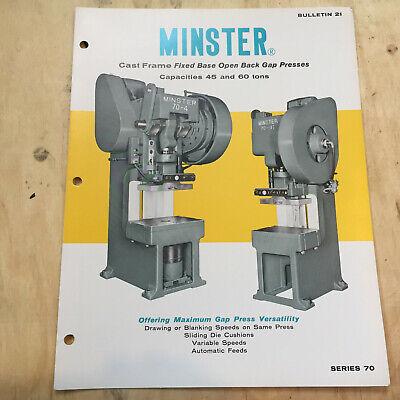 Vtg Minster Machine Co Catalog 70 Series Presses Deep Throat Brochure EBay