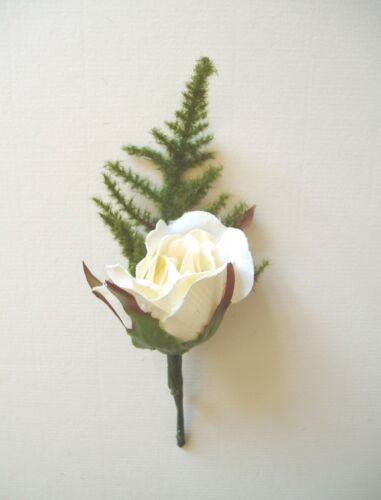 Ivory or Cream options Carnation or Rose Wedding Button Hole Corsage White