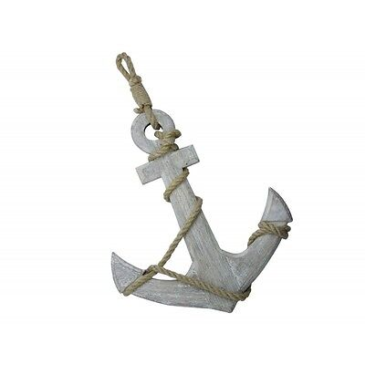 Large Nautical White Washed Wooden Anchor with Rope Ornament * Bathroom Seaside
