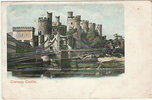 Vintage-CONWAY-CONWY-CASTLE-Wales-POSTCARD-1903-Beautiful-colourised-image