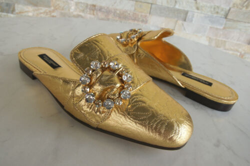 Dolce Ehemuvp G Sabot amp; Mules 5 D Gabbana 37 Taglia Shoes Evening Gold Nuovo BrBqOt