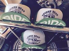 GIMME HEAD ON A  PANHEAD green & white biker trucker hat harley engine cases s&s