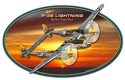 Lockheed P-38 Lightning Metal Sign - Hand Made in the USA