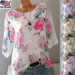 Plus-Size-Womens-Floral-Blouse-Casual-Crew-Neck-Tops-Loose-3-4-Sleeve-T-Shirt-US