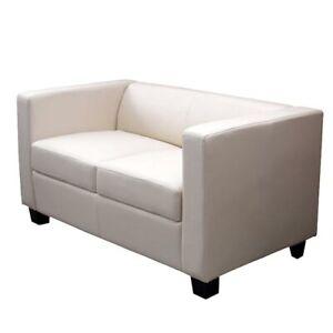 2er Sofa Couch Loungesofa Lille Kunstleder, creme | eBay