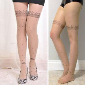 Sheer Beige Nude Pantyhose Faux Tattoo Floral Garter Polka