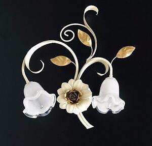 Applique-parete-lampada-classico-ferro-battuto-fiori-foglie-rose-oro-arte-povera