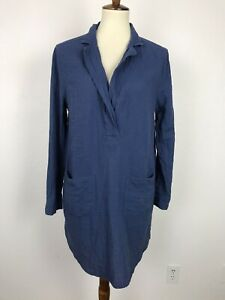 Lou-amp-Grey-Women-Sz-L-Shift-Dress-Blue-Cotton-Front-Pockets-Buttons-Front